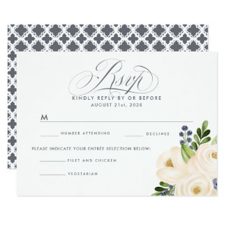 Portofino Blue and Cream Floral Wedding RSVP MENU Card