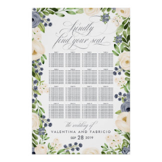 Portofino Blue Cream Floral Wedding Seating Chart