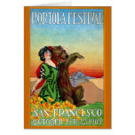 Portola Festival Lady with Bear Greeting Card