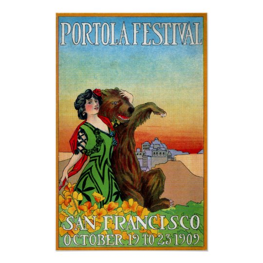 Portola Festival Lady with Bear Poster