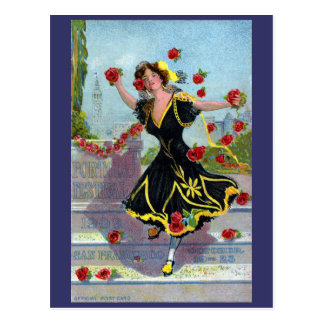 Portola Festival Lady with Roses 1909 Postcard