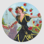Portola Festival Lady with Roses 1909 Sticker