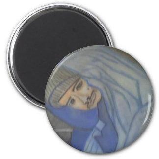 Portrait #3 in Chalk final 6 Cm Round Magnet