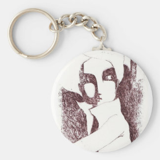 Portrait Basic Round Button Key Ring