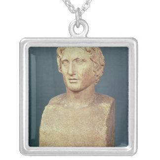 Portrait bust of Alexander the Great Silver Plated Necklace