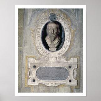 Portrait bust of Joannes Stradanus, Flemish-born p Poster