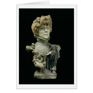 Portrait Bust of Sarah Bernhardt (1844-1923) Frenc Card