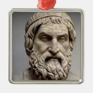 Portrait bust of Sophocles Silver-Colored Square Decoration