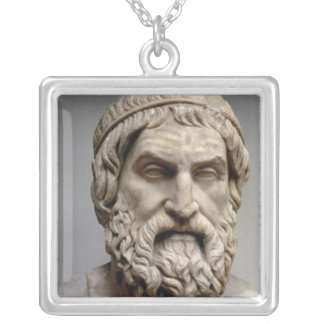 Portrait bust of Sophocles Silver Plated Necklace