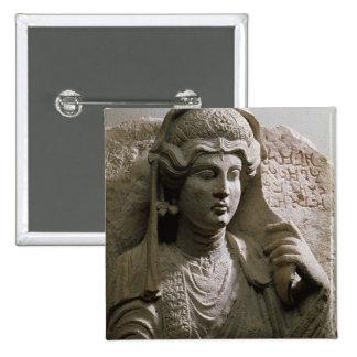 Portrait bust tomb relief, Roman, c.2nd/3rd centur 15 Cm Square Badge
