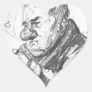 Portrait-caricature of Giacomo Quarenghi by Orest Heart Sticker