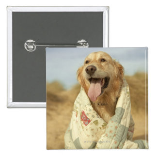 Portrait dog on beach under quilt. Fall 15 Cm Square Badge
