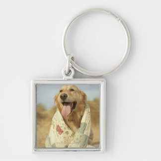 Portrait dog on beach under quilt. Fall Key Ring