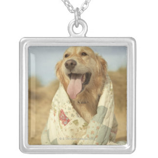 Portrait dog on beach under quilt. Fall Silver Plated Necklace
