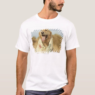 Portrait dog on beach under quilt. Fall T-Shirt