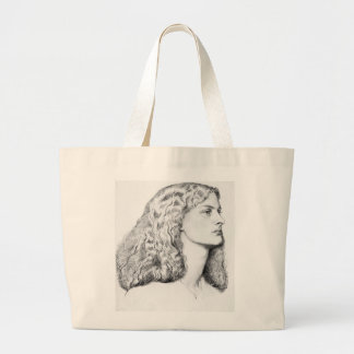Portrait drawing of woman large tote bag