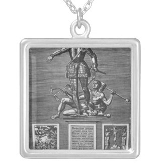 Portrait Glorifying Ferdinand Alvarez of Toledo Silver Plated Necklace
