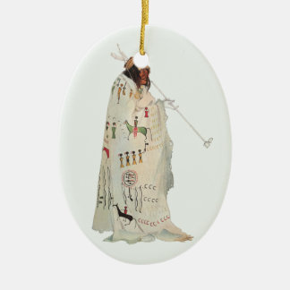 Portrait, Indian Warrior with Pipe by Karl Bodmer Christmas Ornament