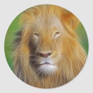Portrait lion classic round sticker