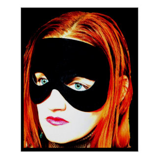 portrait masked woman vintage beauty poster