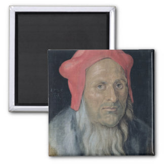Portrait of a Bearded Man in a Red Hat, 1520 (oil Magnet