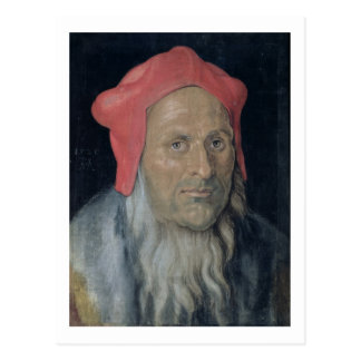 Portrait of a Bearded Man in a Red Hat, 1520 (oil Postcard