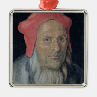 Portrait of a Bearded Man in a Red Hat, 1520 (oil Silver-Colored Square Decoration