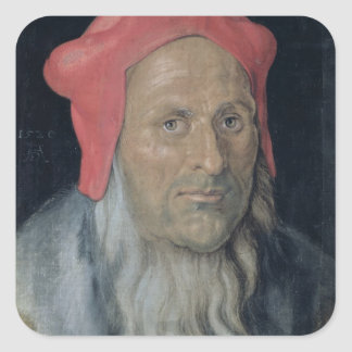 Portrait of a Bearded Man in a Red Hat, 1520 (oil Square Sticker