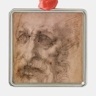 Portrait of a Bearded Man Silver-Colored Square Decoration