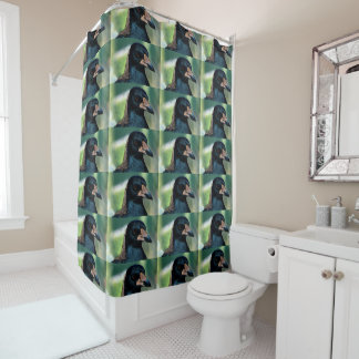 Portrait of a bird shower curtain