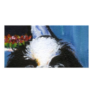 Portrait of a black Japanese chin Photo Card
