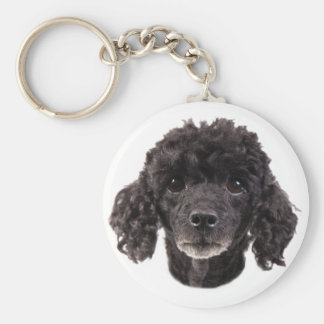 Portrait of a black poodle key ring