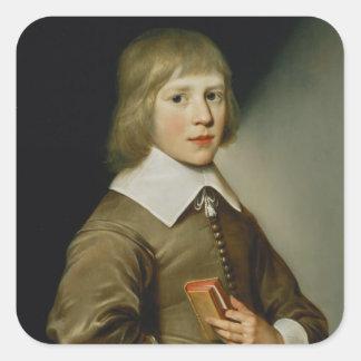 Portrait of a Boy Square Sticker