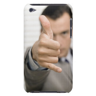 Portrait of a businessman making a thumbs up iPod touch cases