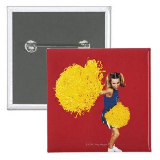 Portrait of a Cheerleader Holding Pom-poms 15 Cm Square Badge