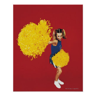 Portrait of a Cheerleader Holding Pom-poms Poster
