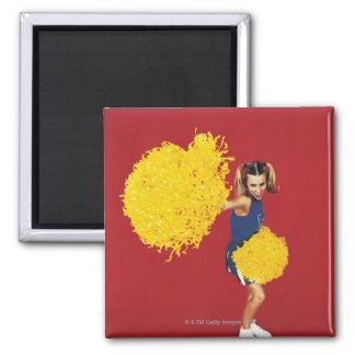 Portrait of a Cheerleader Holding Pom-poms Square Magnet