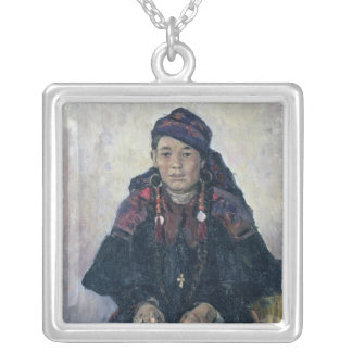 Portrait of a Cossack Woman, 1909 Silver Plated Necklace