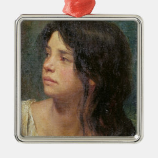 Portrait of a dark-haired girl, 1867 christmas ornament