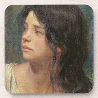 Portrait of a dark-haired girl, 1867 coaster