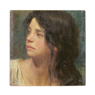 Portrait of a dark-haired girl, 1867 wood coaster