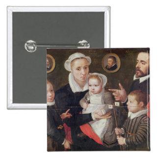 Portrait of a family 15 cm square badge
