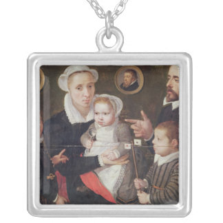 Portrait of a family silver plated necklace