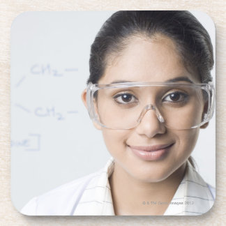 Portrait of a female lab technician wearing a coaster