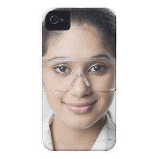 Portrait of a female lab technician wearing a iPhone 4 case