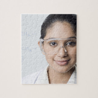 Portrait of a female lab technician wearing a jigsaw puzzle