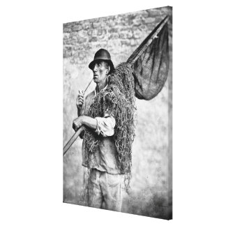 Portrait of a Fisherman Carrying his Nets (b/w pho Canvas Print