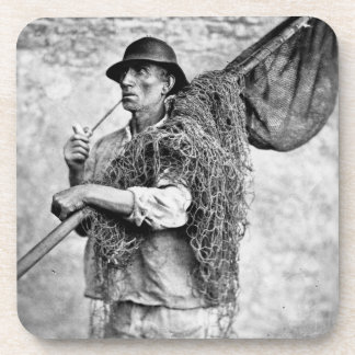 Portrait of a Fisherman Carrying his Nets (b/w pho Coaster