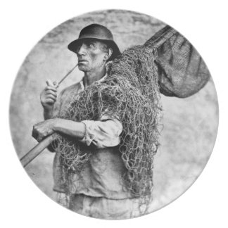 Portrait of a Fisherman Carrying his Nets (b/w pho Plate