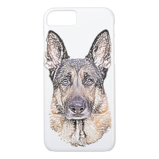 Portrait of a German Shepherd Dog Coloured Sketch iPhone 7 Case
